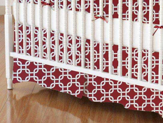 Crib Skirt - Burgundy Links