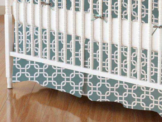 Crib Skirt - Seafoam Blue Links