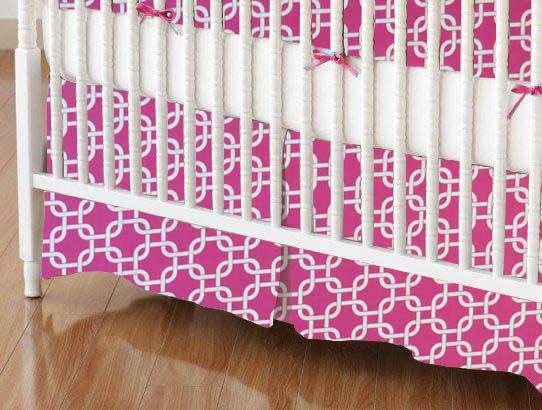 Crib Skirt - Hot Pink Links