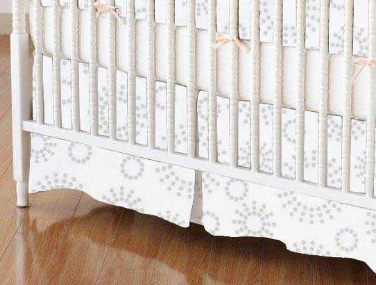 Crib Skirt - Grey Dot Circles
