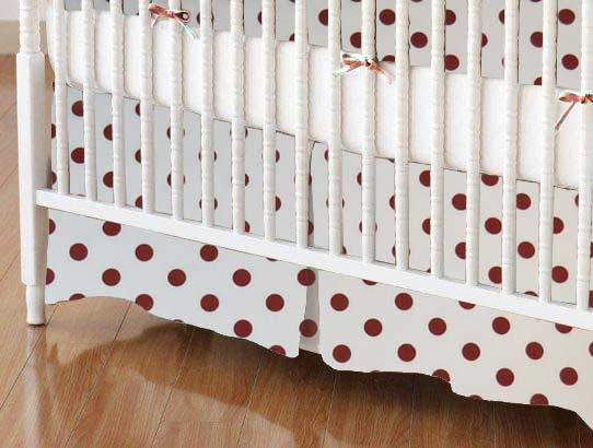 Crib Skirt - Burgundy Polka Dots