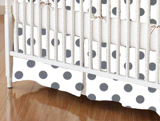 Crib Skirt - Grey Polka Dots