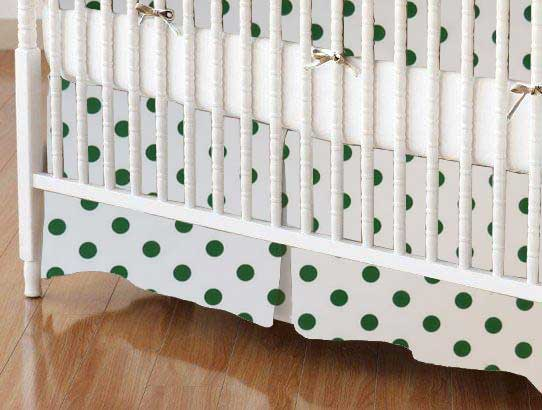 Crib Skirt - Hunter Green Polka Dots