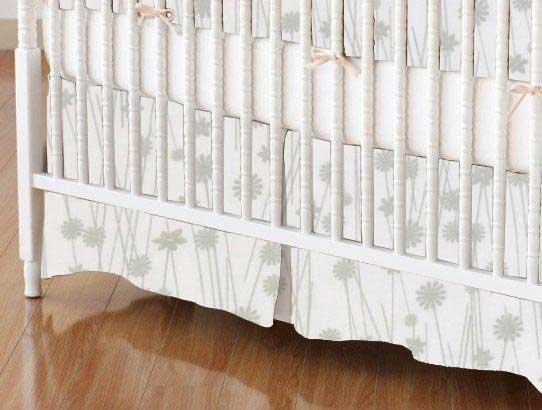 Crib Skirt - Grey Floral Stems