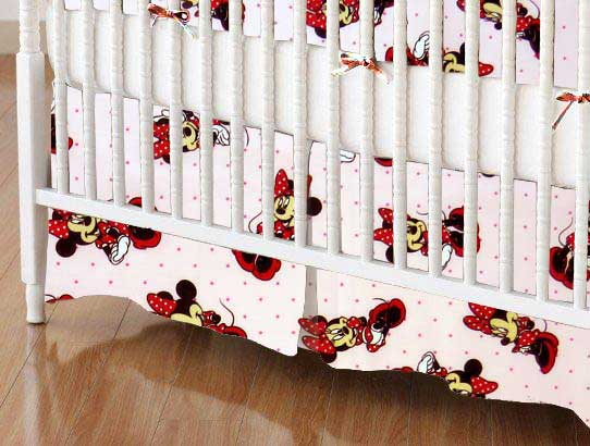 Crib Skirt - Minnie Mouse Pink