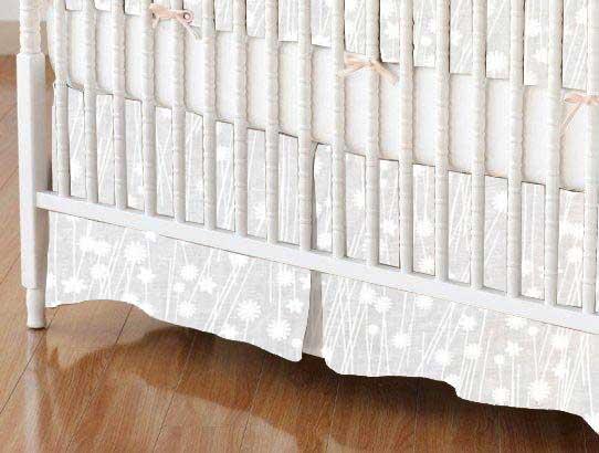 Crib Skirt - White On White Floral Stems