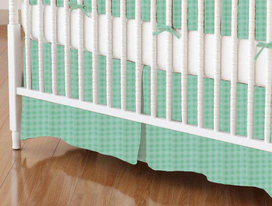 100% Cotton Percale - Checkered Prints Crib Skirts