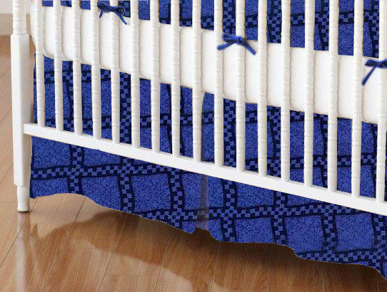 Crib Skirt - Navy & Royal Wavy Check