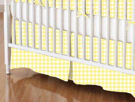 Crib Skirt - Pastel Yellow Gingham Woven