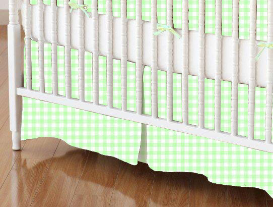 Crib Skirt - Pastel Green Gingham Woven