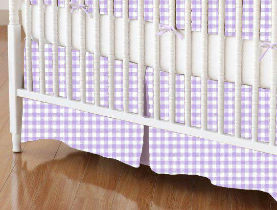 Mini Crib Skirt - Pastel Lavender Gingham Woven