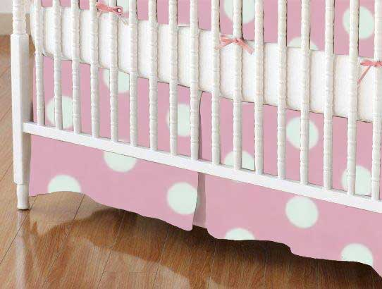 Mini Crib Skirt - Pastel Pink Polka Dots Woven