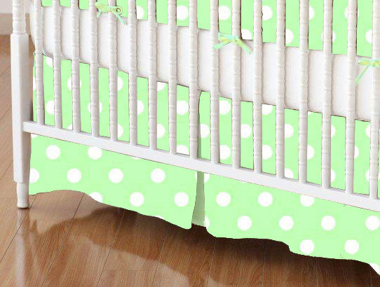 Crib Skirt - Pastel Green Polka Dots Woven
