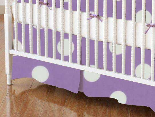 Mini Crib Skirt - Pastel Lavender Polka Dots Woven