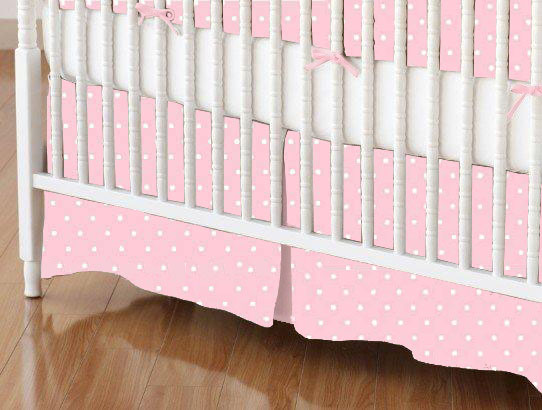 Mini Crib Skirt - Pastel Pink Pindots Woven