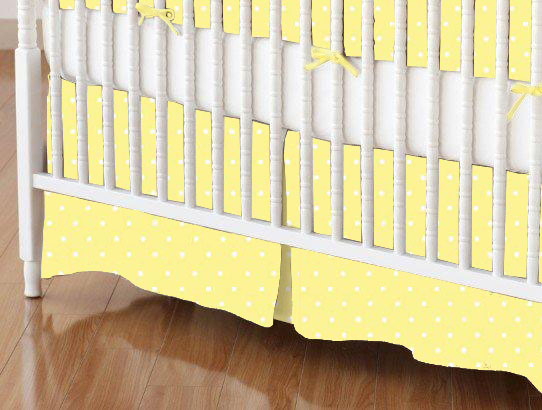 Crib Skirts - Crib Skirt - Pastel Yellow Pindots Woven - Tailored - 100% Cotton Woven - Pastel Polka Dots Crib Skirts