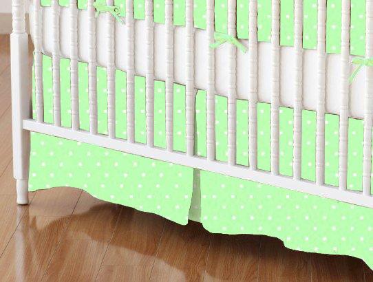 Crib Skirt - Pastel Green Pindots Woven