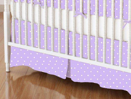 Crib Skirts - Crib Skirt - Pastel Lavender Pindots Woven - Tailored - 100% Cotton Woven - Pastel Polka Dots Crib Skirts