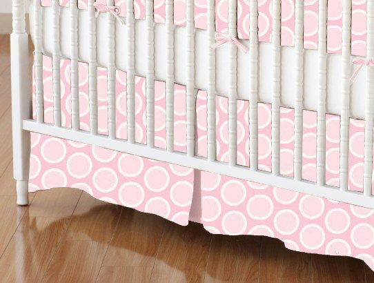 Mini Crib Skirt - Pastel Pink Bubbles Woven