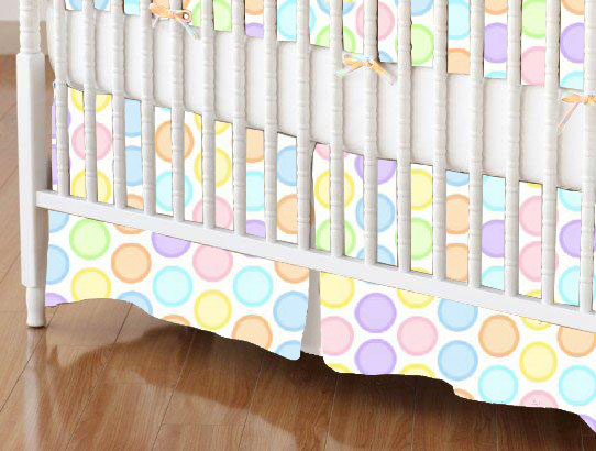 Crib Skirts - Crib Skirt - Pastel Colorful Bubbles Woven - Tailored - 100% Cotton Woven - Pastel Polka Dots Crib Skirts