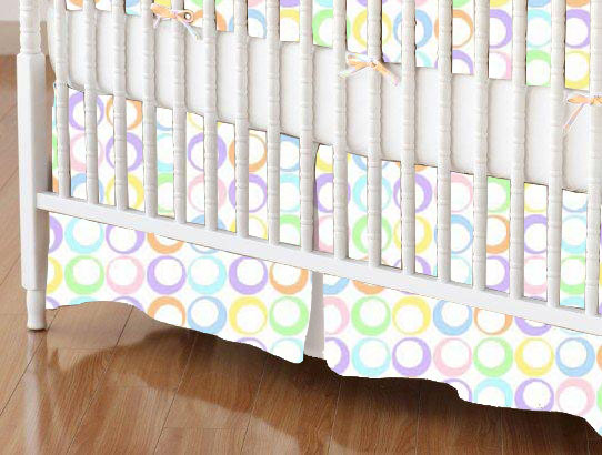 Crib Skirt - Pastel Colorful Rings Woven