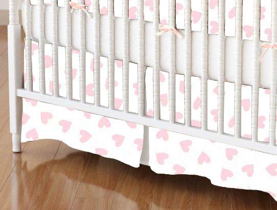Mini Crib Skirt - Pastel Pink Hearts Woven