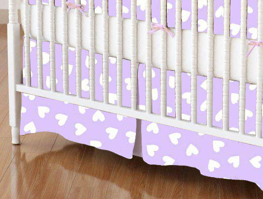 Mini Crib Skirt - Hearts Pastel Lavender Woven