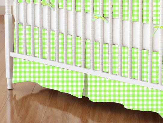 Crib Skirt - Primary Green Gingham Woven