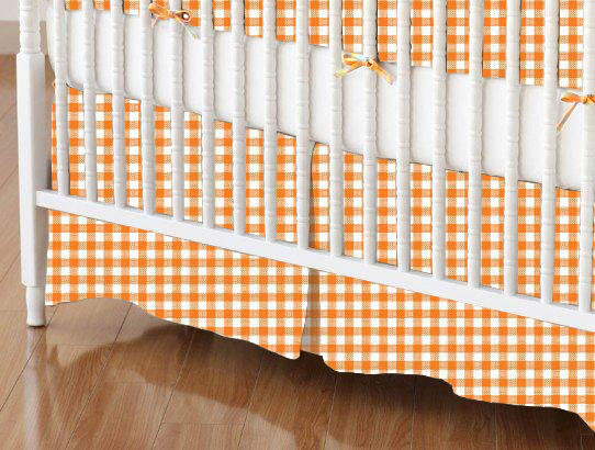 Crib Skirt - Primary Orange Gingham Woven