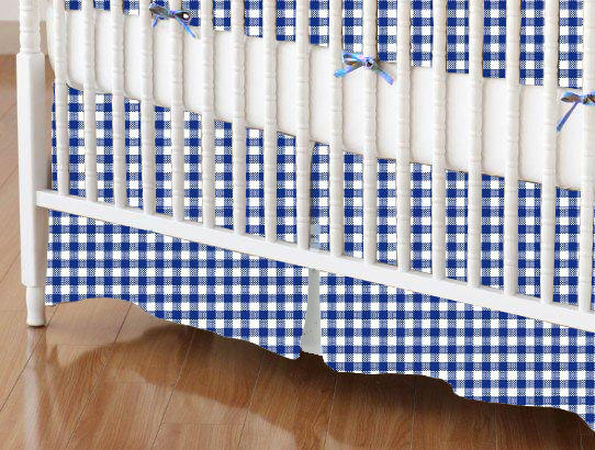 Crib Skirt - Primary Navy Gingham Woven