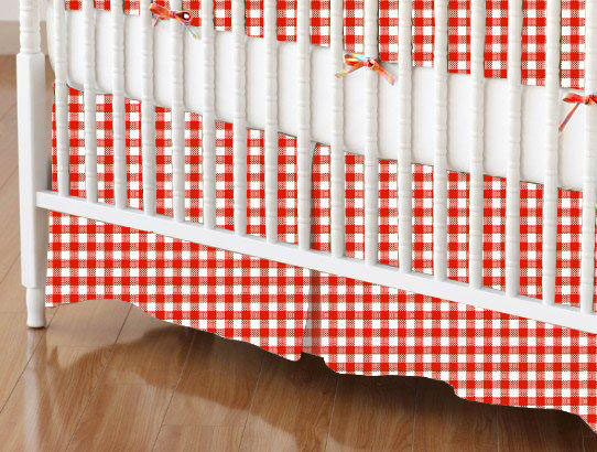 Crib Skirt - Primary Red Gingham Woven