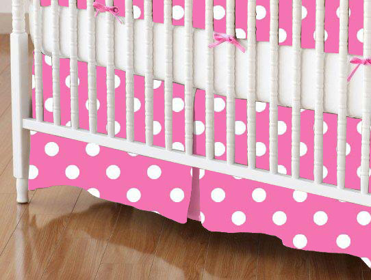 Crib Skirt - Primary Polka Dots Pink Woven