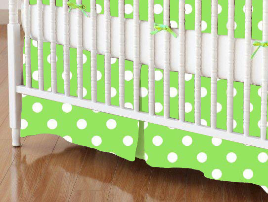 Crib Skirt - Primary Polka Dots Green Woven