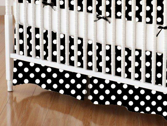 Crib Skirt - Primary Polka Dots Black Woven