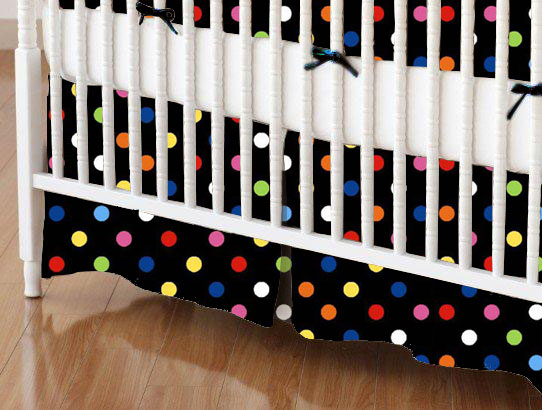 Mini Crib Skirt - Primary Colorful Dots Black Woven