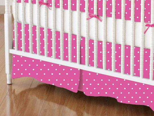 Mini Crib Skirt - Primary Pindots Pink Woven