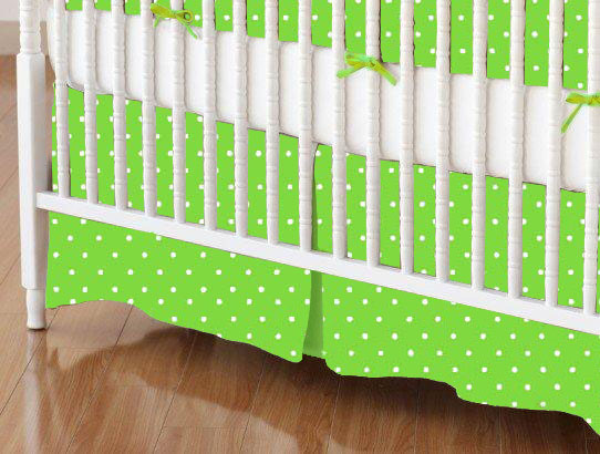 Crib Skirt - Primary Pindots Green Woven