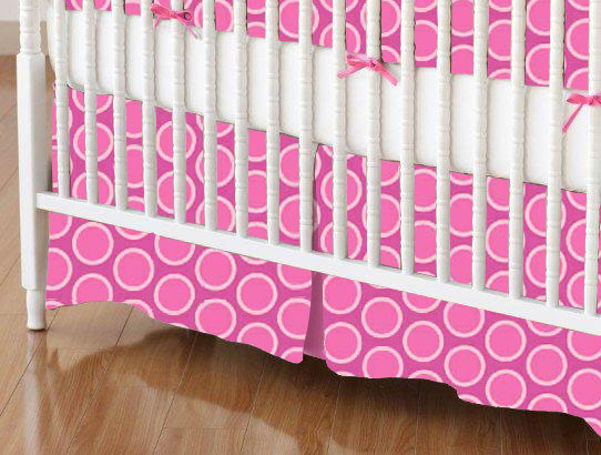 Mini Crib Skirt - Primary Bubbles Pink Woven