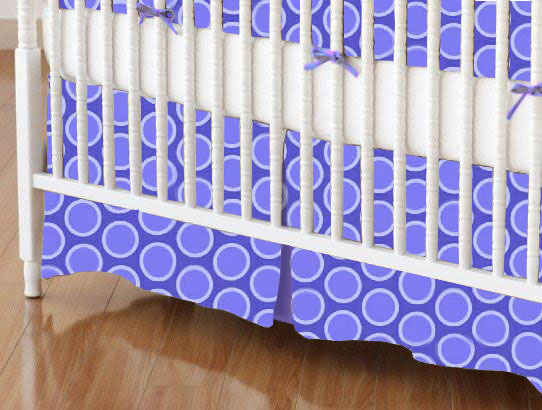 Crib Skirt - Primary Bubbles Blue Woven