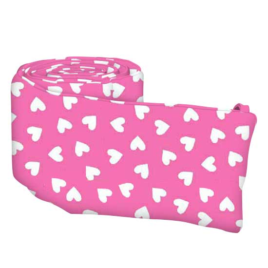 Primary Hearts White On Pink Woven