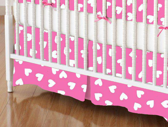 Crib Skirt - Primary Hearts White On Pink Woven