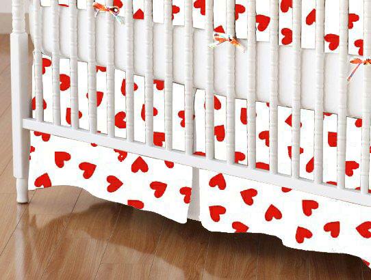 Mini Crib Skirt - Primary Hearts Red Woven