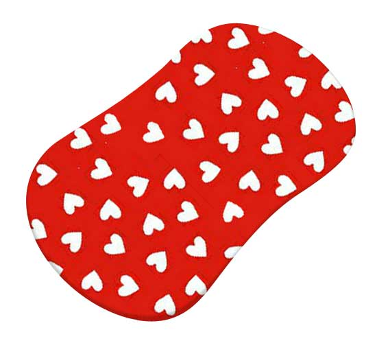Primary Hearts White On Red Woven