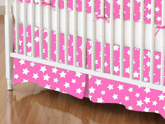 Crib Skirt - Primary Stars White On Pink Woven