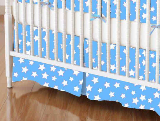 Mini Crib Skirt - Primary Stars White On Blue Woven