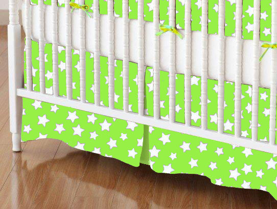 Mini Crib Skirt - Primary Stars White On Green Woven