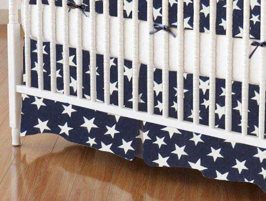Crib Skirt - Primary Stars White On Navy Woven