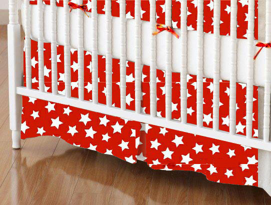 Mini Crib Skirt - Primary Stars White On Red Woven