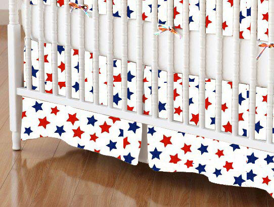 Crib Skirt - Primary Patriotic Stars On White Woven