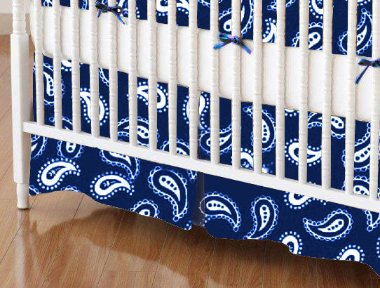 Crib Skirt - Primary Paisley White On Navy Woven
